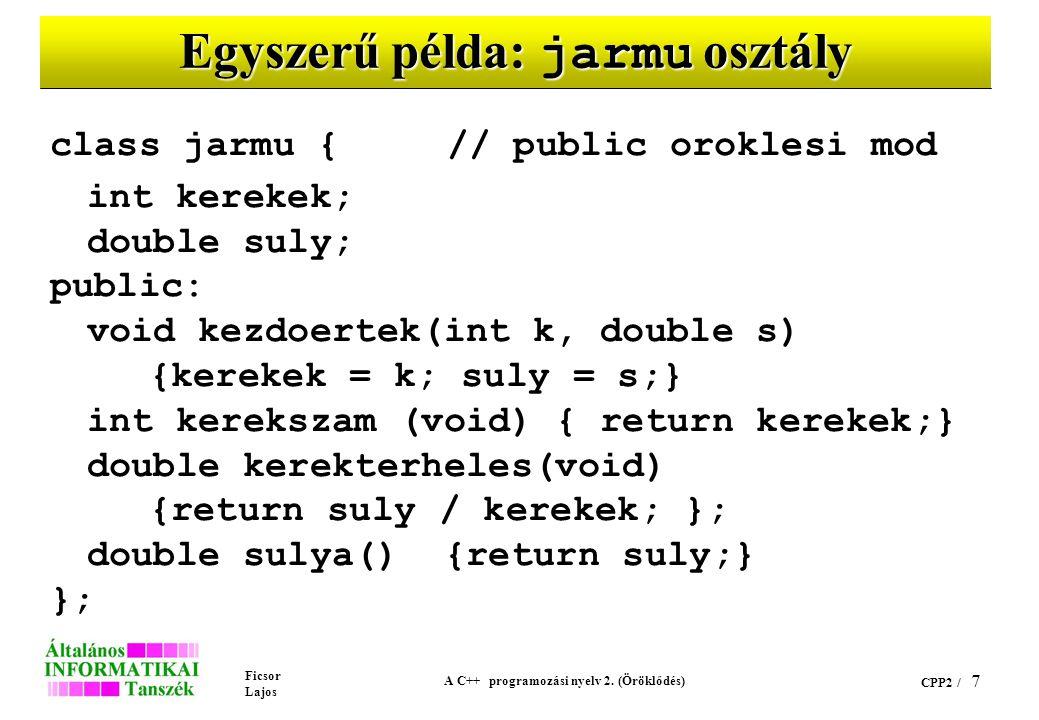 Ficsor Lajos A C++ programozási nyelv 2. (Öröklődés) CPP2 / 7 Egyszerű példa: jarmu osztály class jarmu {// public oroklesi mod int kerekek; double su