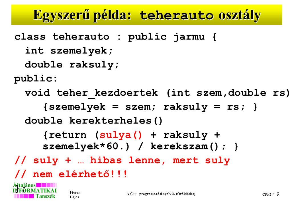 Ficsor Lajos A C++ programozási nyelv 2. (Öröklődés) CPP2 / 9 Egyszerű példa: teherauto osztály class teherauto : public jarmu { int szemelyek; double