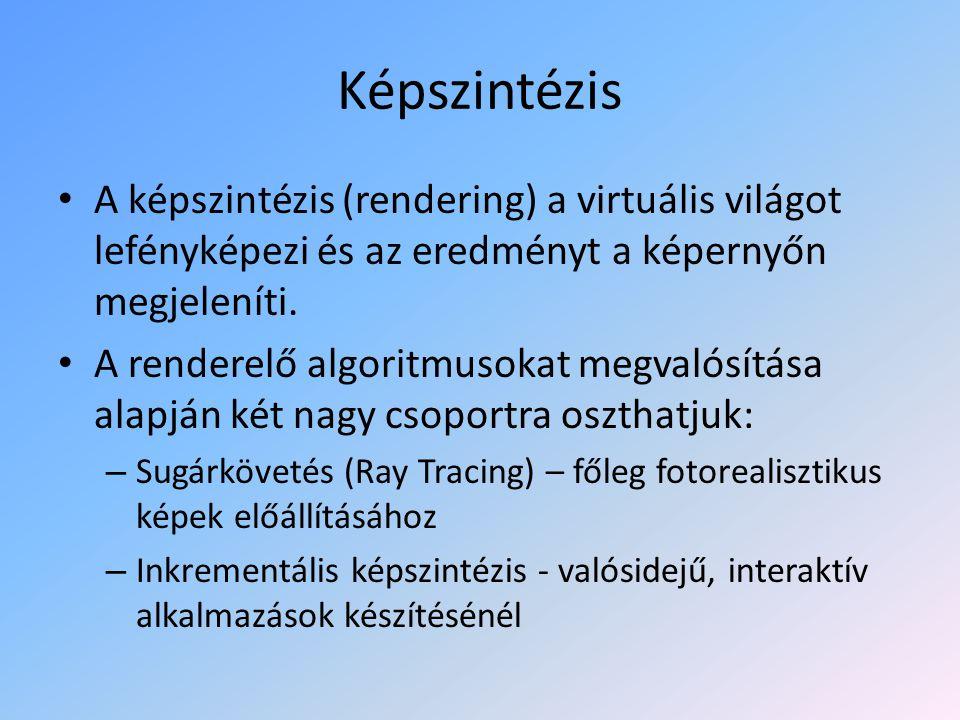 Képszintézis A képszintézis (rendering) a virtuális világot lefényképezi és az eredményt a képernyőn megjeleníti.