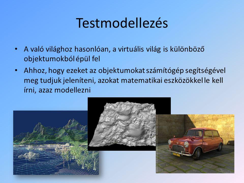 Testmodellezés A való világhoz hasonlóan, a virtuális világ is különböző objektumokból épül fel Ahhoz, hogy ezeket az objektumokat számítógép segítségével meg tudjuk jeleníteni, azokat matematikai eszközökkel le kell írni, azaz modellezni