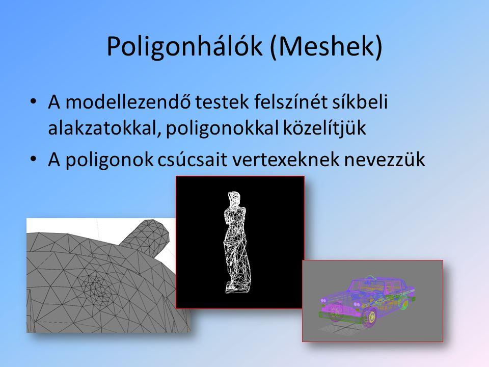 Poligonhálók (Meshek) A modellezendő testek felszínét síkbeli alakzatokkal, poligonokkal közelítjük A poligonok csúcsait vertexeknek nevezzük
