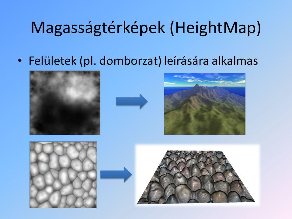 Anyagok (Materials) Az Anyagok segítségével a felületek mintázatát, a fénnyel szemben mutatott tulajdonságait írjuk le.