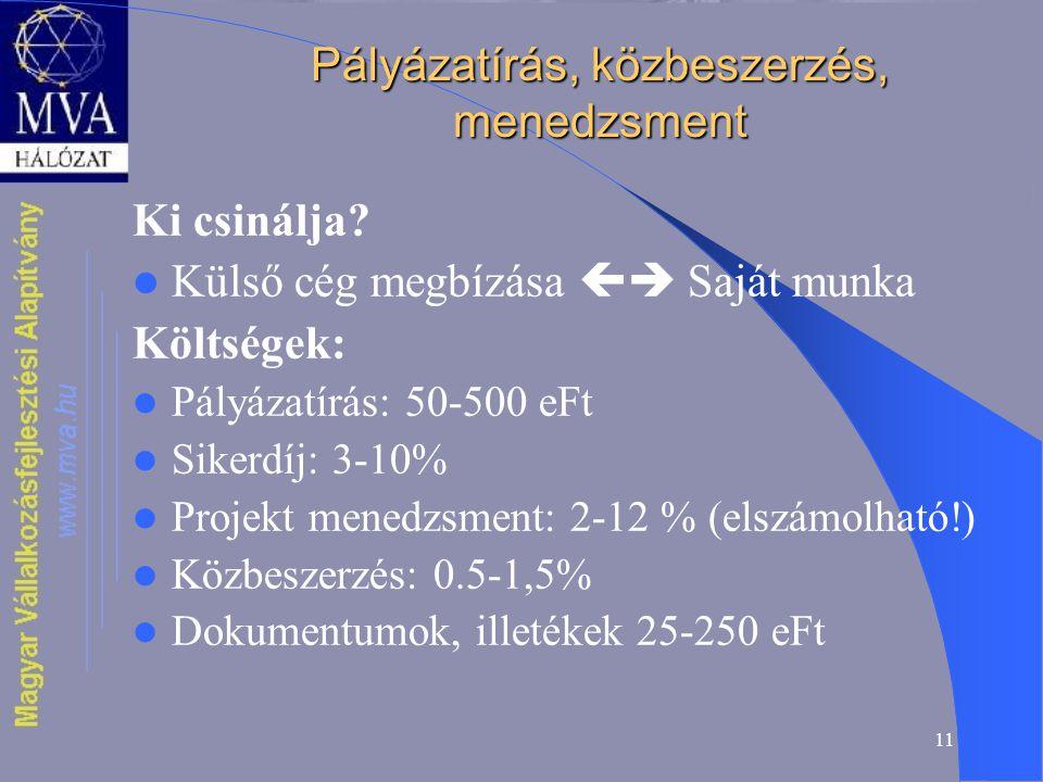 11 Pályázatírás, közbeszerzés, menedzsment Ki csinálja.