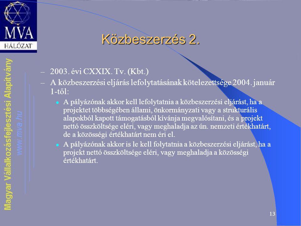 13 Közbeszerzés 2. – 2003. évi CXXIX. Tv.