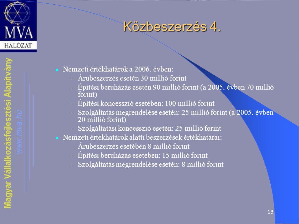 15 Közbeszerzés 4. Nemzeti értékhatárok a 2006.
