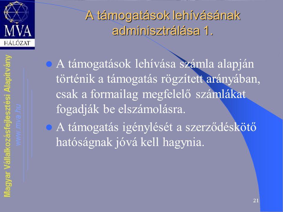 21 A támogatások lehívásának adminisztrálása 1.