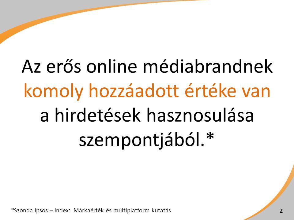 2 Az erős online médiabrandnek komoly hozzáadott értéke van a hirdetések hasznosulása szempontjából.* *Szonda Ipsos – Index: Márkaérték és multiplatform kutatás
