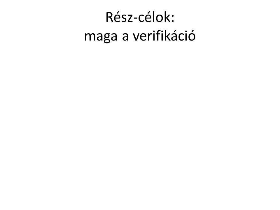 Rész-célok: maga a verifikáció