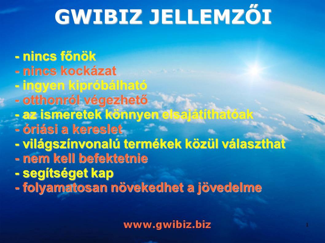 - nincs főnök - nincs kockázat - ingyen kipróbálható - otthonról végezhető - az ismeretek könnyen elsajátíthatóak - óriási a kereslet - világszínvonalú termékek közül választhat - nem kell befektetnie - segítséget kap - folyamatosan növekedhet a jövedelme GWIBIZ JELLEMZŐI