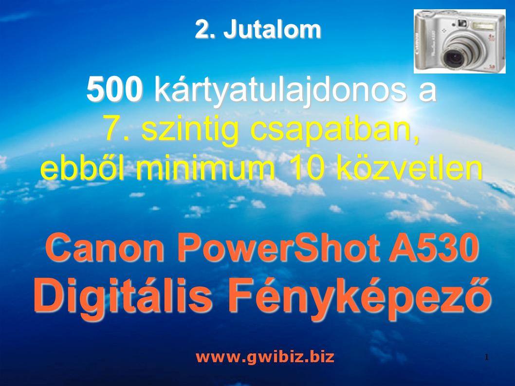 500 kártyatulajdonos a 7. szintig csapatban, ebből minimum 10 közvetlen Canon PowerShot A530 Digitális Fényképező 2. Jutalom