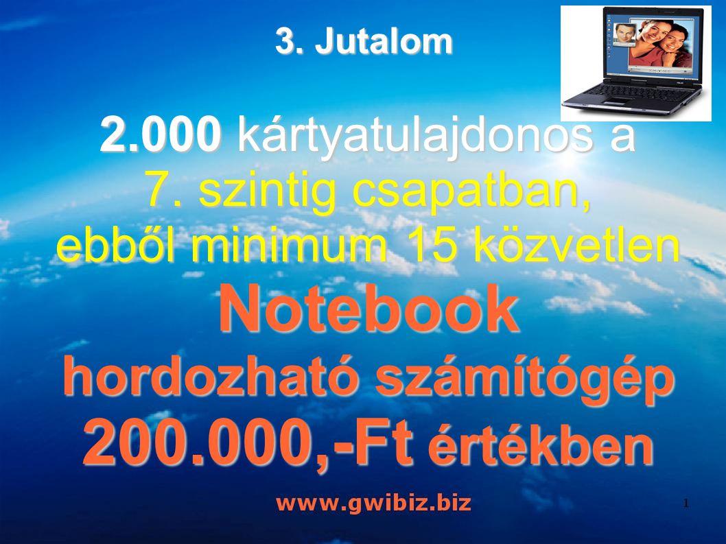 2.000 kártyatulajdonos a 7. szintig csapatban, ebből minimum 15 közvetlen Notebook hordozható számítógép 200.000,-Ft értékben 3. Jutalom