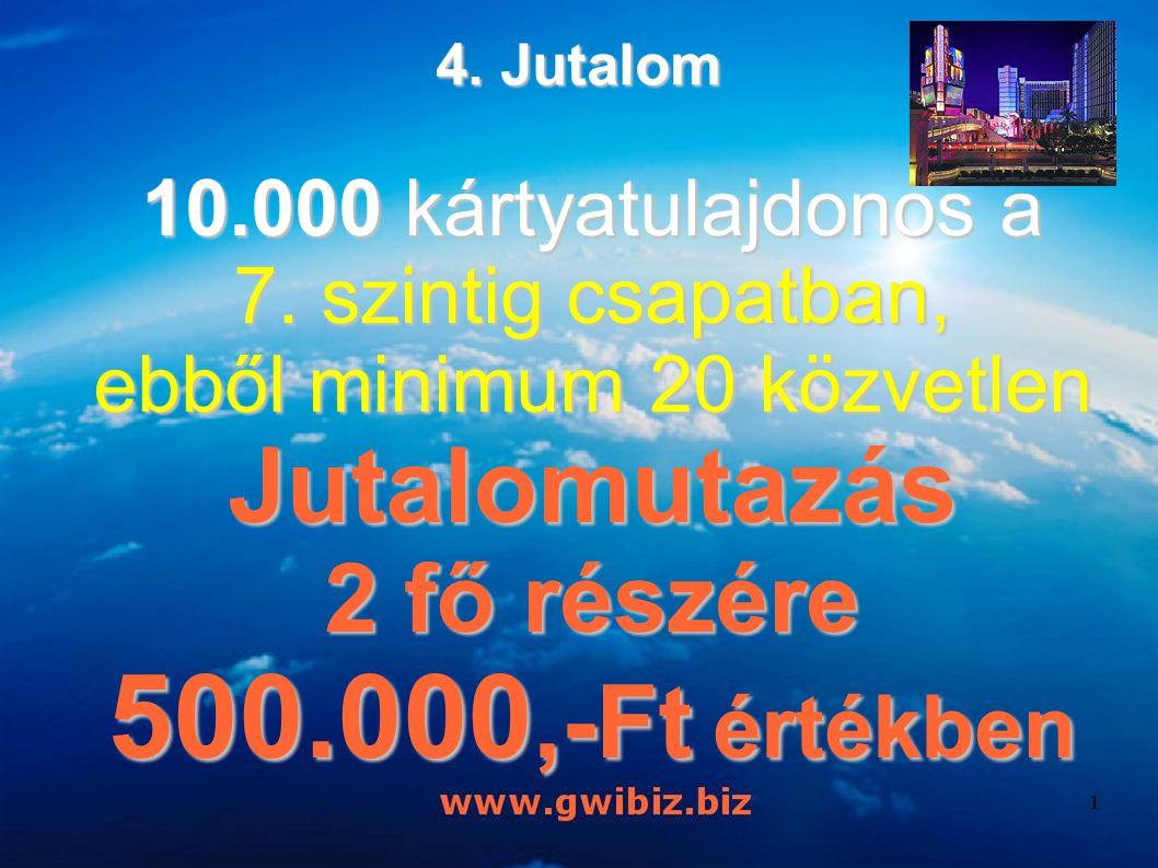 10.000 kártyatulajdonos a 7. szintig csapatban, ebből minimum 20 közvetlen Jutalomutazás 2 fő részére 500.000,-Ft értékben 4. Jutalom