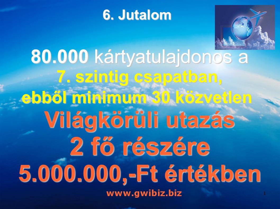 6. Jutalom 80.000 kártyatulajdonos a 7. szintig csapatban, ebből minimum 30 közvetlen ebből minimum 30 közvetlen Világkörüli utazás 2 fő részére 5.000