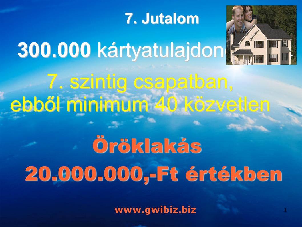 7. Jutalom 300.000 kártyatulajdonos a 7. szintig csapatban, ebből minimum 40 közvetlen Öröklakás Öröklakás 20.000.000,-Ft értékben 20.000.000,-Ft érté
