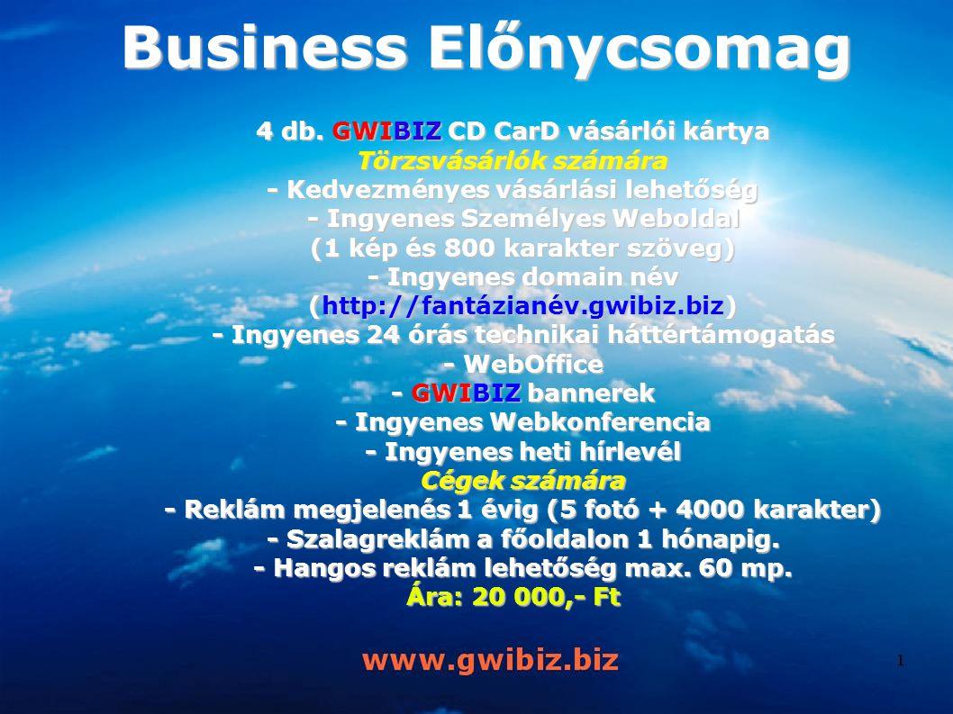 Business Előnycsomag 4 db. GWIBIZ CD CarD vásárlói kártya Törzsvásárlók számára - Kedvezményes vásárlási lehetőség - Ingyenes Személyes Weboldal (1 ké