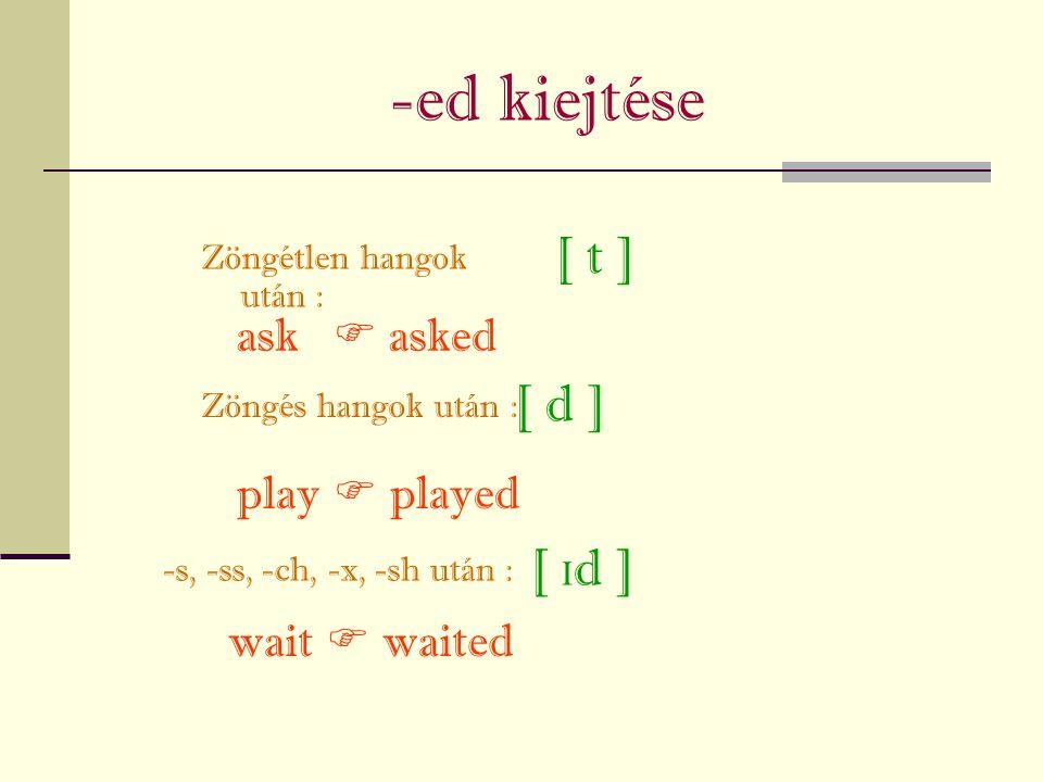 -ed kiejtése Zöngétlen hangok után : Zöngés hangok után : [ t ] [  d ] [ d ] -s, -ss, -ch, -x, -sh után : ask  asked play  played wait  waited