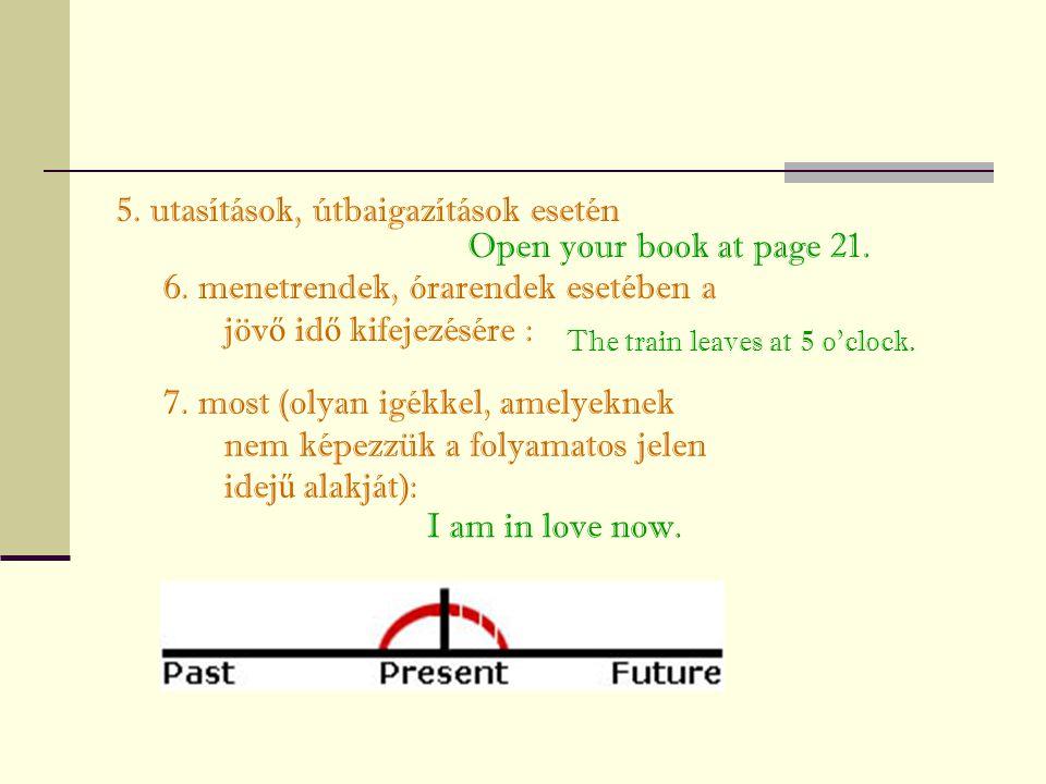 5. utasítások, útbaigazítások esetén 6. menetrendek, órarendek esetében a jöv ő id ő kifejezésére : 7. most (olyan igékkel, amelyeknek nem képezzük a