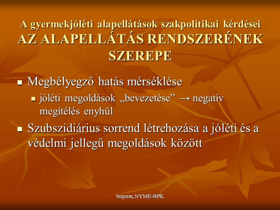 """Sopron, NYME-BPK A gyermekjóléti alapellátások szakpolitikai kérdései AZ ALAPELLÁTÁS RENDSZERÉNEK SZEREPE Megbélyegző hatás mérséklése Megbélyegző hatás mérséklése jóléti megoldások """"bevezetése → negatív megítélés enyhül jóléti megoldások """"bevezetése → negatív megítélés enyhül Szubszidiárius sorrend létrehozása a jóléti és a védelmi jellegű megoldások között Szubszidiárius sorrend létrehozása a jóléti és a védelmi jellegű megoldások között"""