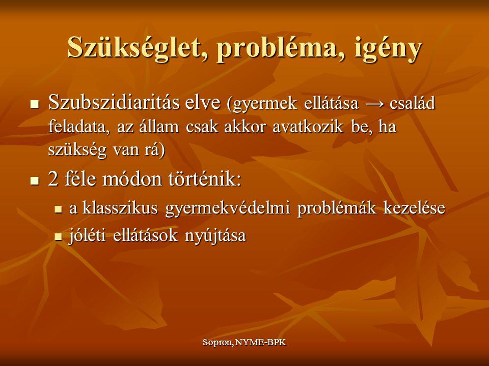 Sopron, NYME-BPK Szükséglet, probléma, igény Szubszidiaritás elve (gyermek ellátása → család feladata, az állam csak akkor avatkozik be, ha szükség van rá) Szubszidiaritás elve (gyermek ellátása → család feladata, az állam csak akkor avatkozik be, ha szükség van rá) 2 féle módon történik: 2 féle módon történik: a klasszikus gyermekvédelmi problémák kezelése a klasszikus gyermekvédelmi problémák kezelése jóléti ellátások nyújtása jóléti ellátások nyújtása
