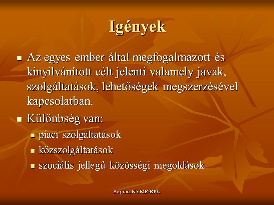 Sopron, NYME-BPK Igények Az egyes ember által megfogalmazott és kinyilvánított célt jelenti valamely javak, szolgáltatások, lehetőségek megszerzésével kapcsolatban.