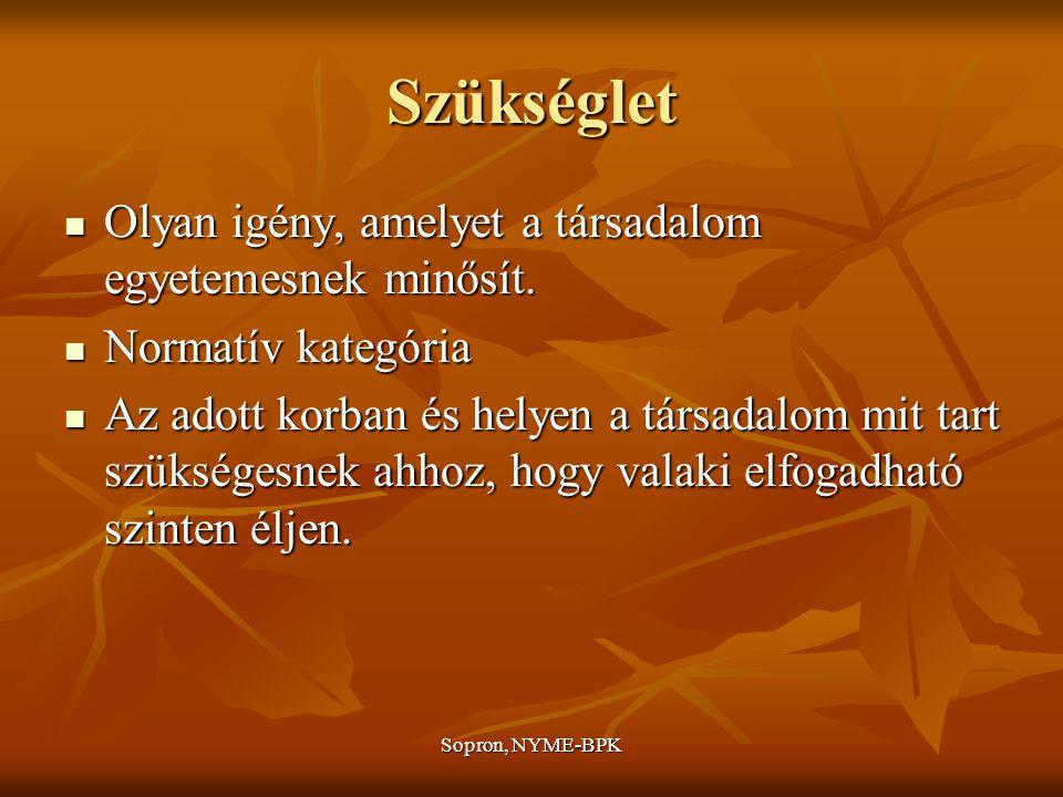Sopron, NYME-BPK Szükséglet Olyan igény, amelyet a társadalom egyetemesnek minősít.