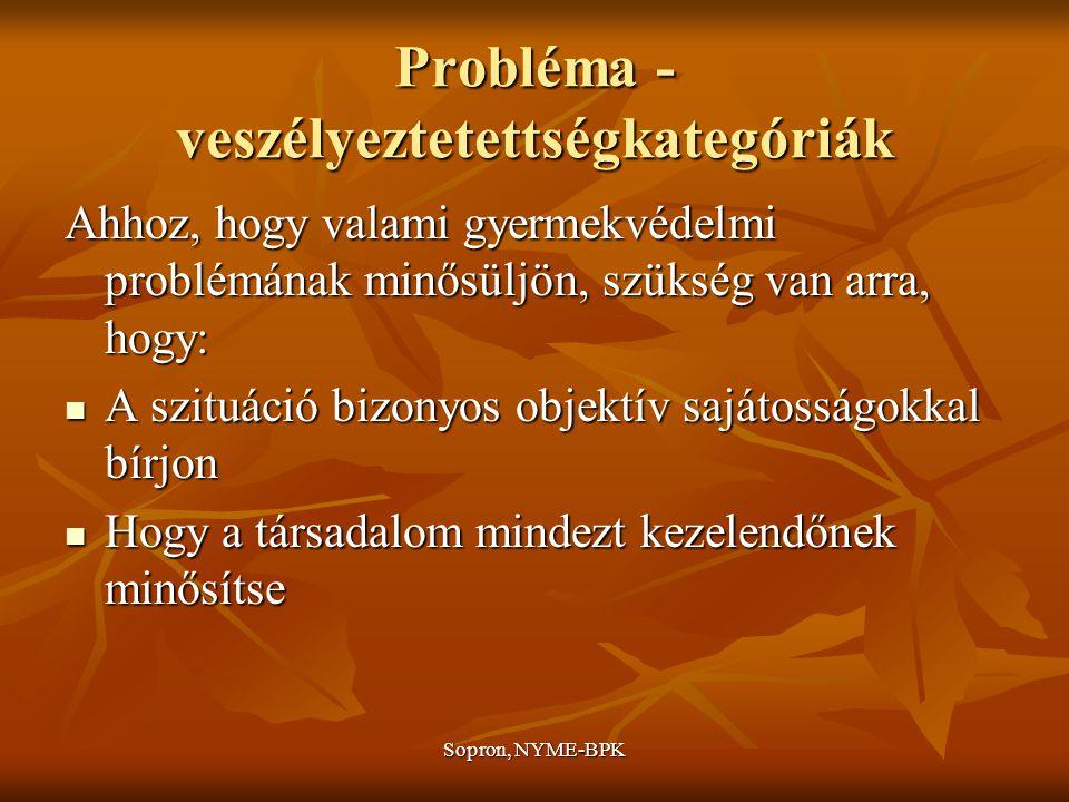 Sopron, NYME-BPK Probléma - veszélyeztetettségkategóriák Ahhoz, hogy valami gyermekvédelmi problémának minősüljön, szükség van arra, hogy: A szituáció bizonyos objektív sajátosságokkal bírjon A szituáció bizonyos objektív sajátosságokkal bírjon Hogy a társadalom mindezt kezelendőnek minősítse Hogy a társadalom mindezt kezelendőnek minősítse