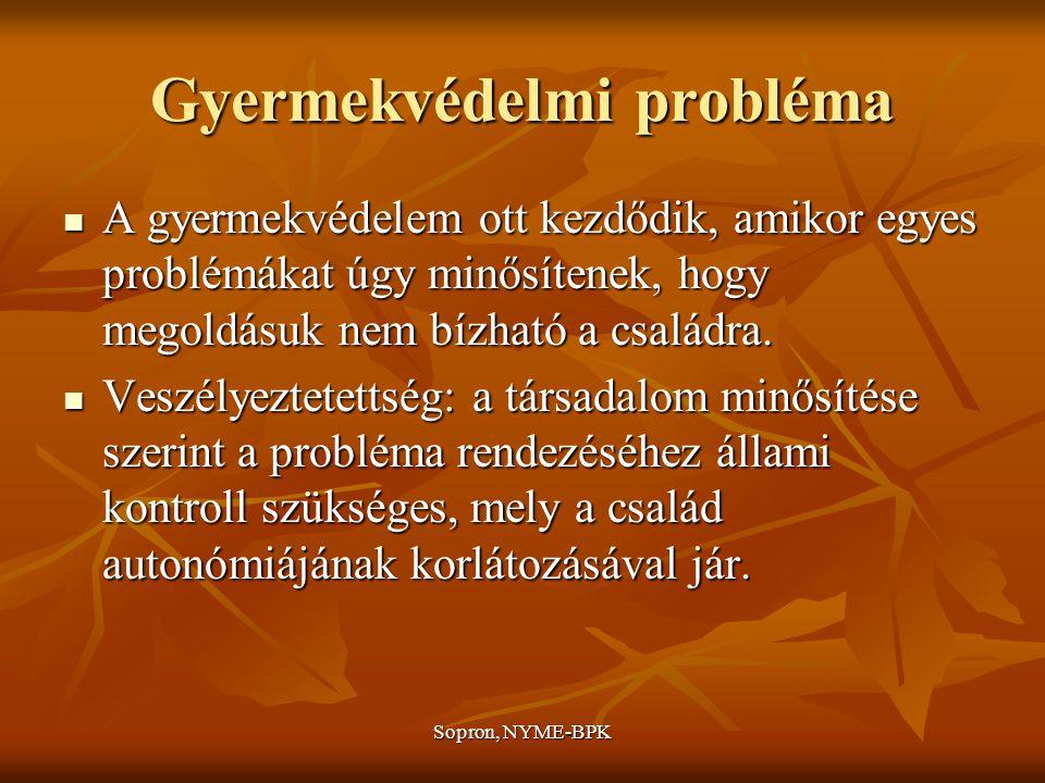 Sopron, NYME-BPK Gyermekvédelmi probléma A gyermekvédelem ott kezdődik, amikor egyes problémákat úgy minősítenek, hogy megoldásuk nem bízható a családra.
