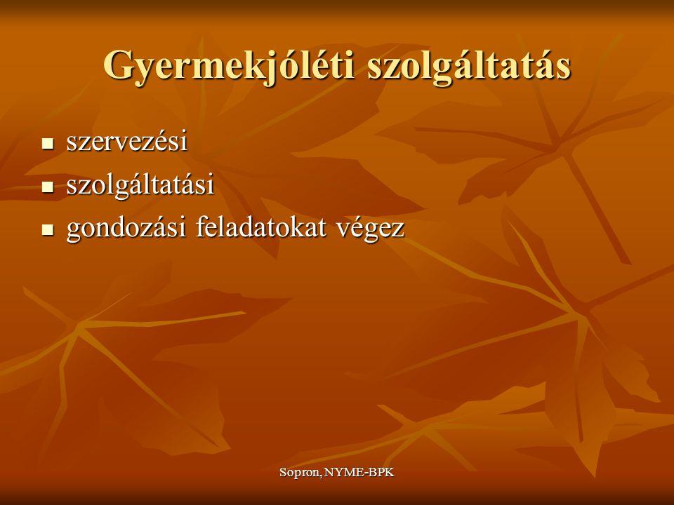 Sopron, NYME-BPK Gyermekjóléti szolgáltatás szervezési szervezési szolgáltatási szolgáltatási gondozási feladatokat végez gondozási feladatokat végez