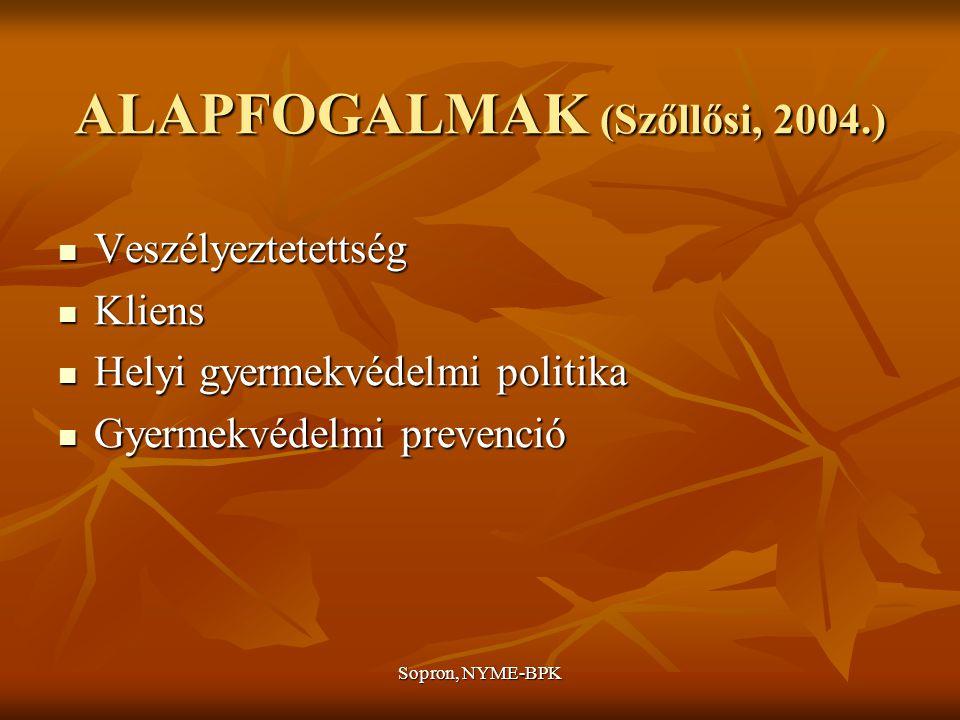 Sopron, NYME-BPK ALAPFOGALMAK (Szőllősi, 2004.) Családból való kiemelés Családból való kiemelés Gyámhatóság Gyámhatóság Gyermekjóléti szolgáltatás Gyermekjóléti szolgáltatás Gyermekvédelmi probléma Gyermekvédelmi probléma Gyermekvédelmi reform Gyermekvédelmi reform Helyettesítő gondozás Helyettesítő gondozás Kiskorúakról való állami gondoskodás Kiskorúakról való állami gondoskodás Területi gyermekvédelem Területi gyermekvédelem