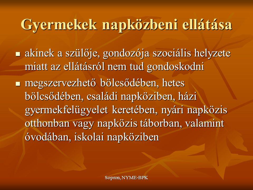 Sopron, NYME-BPK Gyermekek napközbeni ellátása akinek a szülője, gondozója szociális helyzete miatt az ellátásról nem tud gondoskodni akinek a szülője, gondozója szociális helyzete miatt az ellátásról nem tud gondoskodni megszervezhető bölcsődében, hetes bölcsődében, családi napköziben, házi gyermekfelügyelet keretében, nyári napközis otthonban vagy napközis táborban, valamint óvodában, iskolai napköziben megszervezhető bölcsődében, hetes bölcsődében, családi napköziben, házi gyermekfelügyelet keretében, nyári napközis otthonban vagy napközis táborban, valamint óvodában, iskolai napköziben