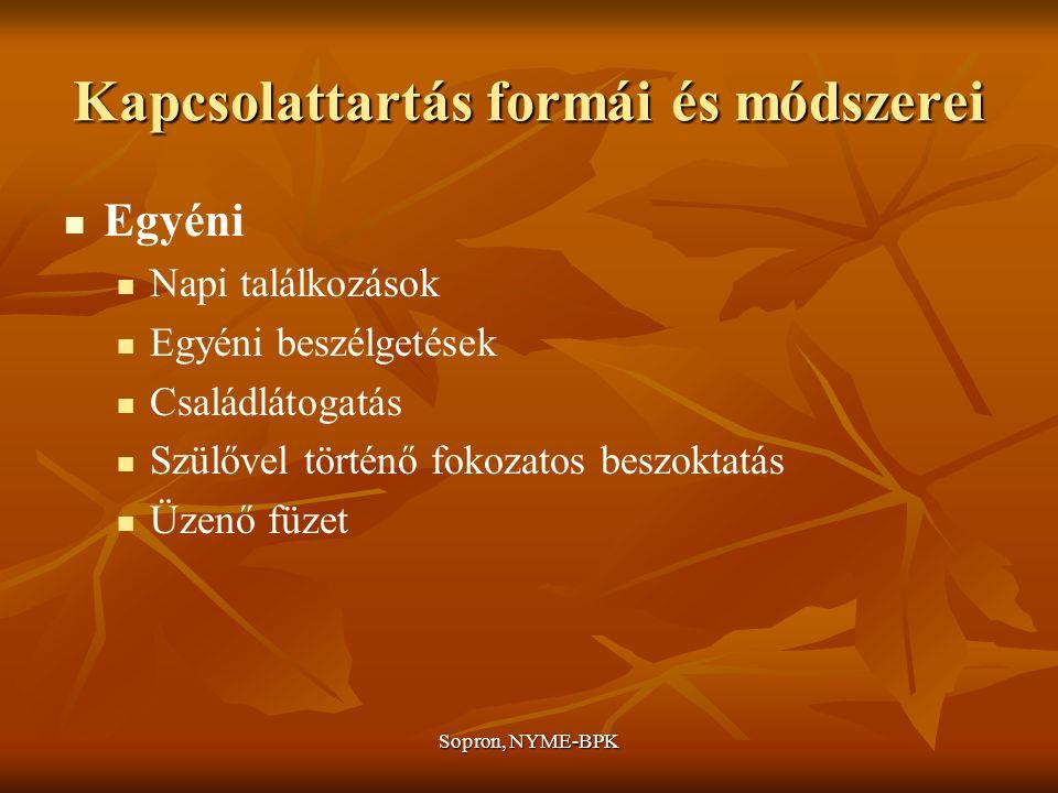 Sopron, NYME-BPK Kapcsolattartás formái és módszerei Egyéni Napi találkozások Egyéni beszélgetések Családlátogatás Szülővel történő fokozatos beszoktatás Üzenő füzet