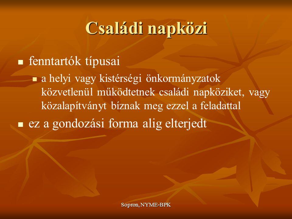 Sopron, NYME-BPK Családi napközi fenntartók típusai a helyi vagy kistérségi önkormányzatok közvetlenül működtetnek családi napköziket, vagy közalapítványt bíznak meg ezzel a feladattal ez a gondozási forma alig elterjedt