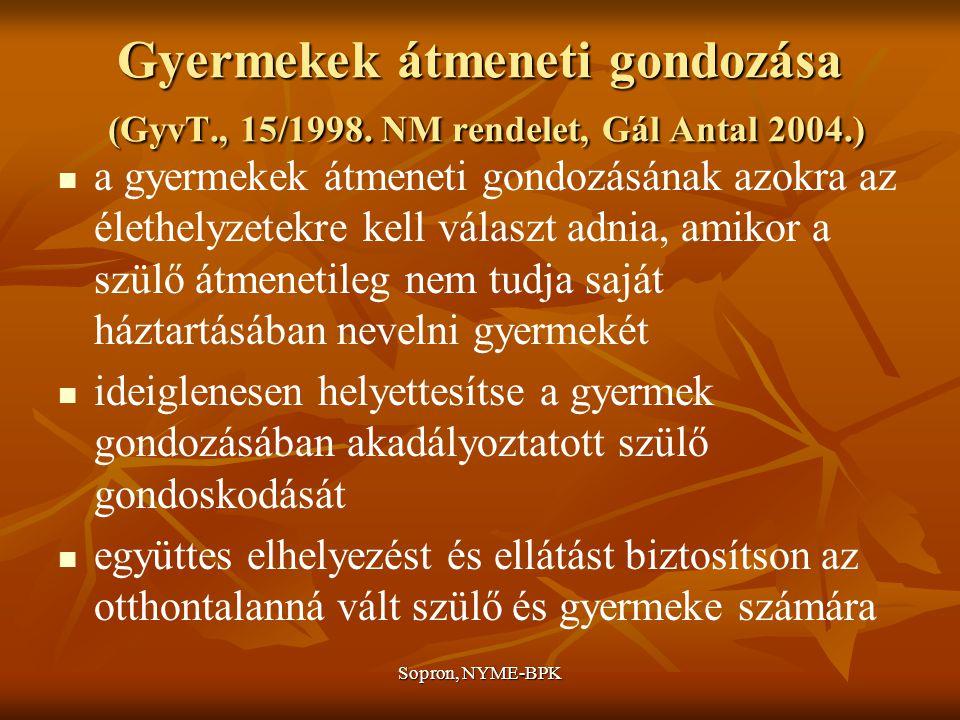 Sopron, NYME-BPK Gyermekek átmeneti gondozása (GyvT., 15/1998.