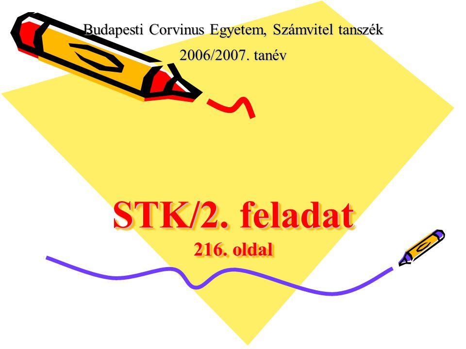 Budapesti Corvinus Egyetem, Számvitel tanszék 2006/2007. tanév STK/2. feladat 216. oldal