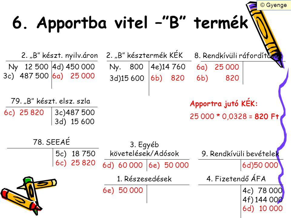 """6. Apportba vitel –""""B"""" termék 2. """"B"""" készt. nyilv.áron2. """"B"""" késztermék KÉK Ny12 500 3c)487 500 3d)15 600 Ny. 800 8. Rendkívüli ráfordítások 6a)25 000"""
