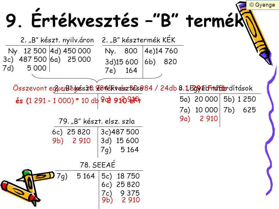 """9. Értékvesztés –""""B"""" termék 2. """"B"""" készt. nyilv.áron2. """"B"""" késztermék KÉK Ny12 500 3c)487 500 3d)15 600 Ny. 800 4e)14 760 4d)450 000 6a)25 000 6b)820"""