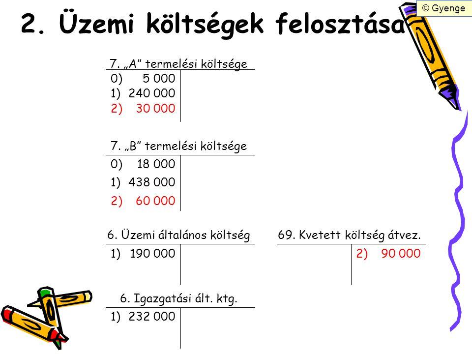 """2. Üzemi költségek felosztása 7. """"A"""" termelési költsége 7. """"B"""" termelési költsége 6. Üzemi általános költség 6. Igazgatási ált. ktg. 0)5 000 0)18 000"""