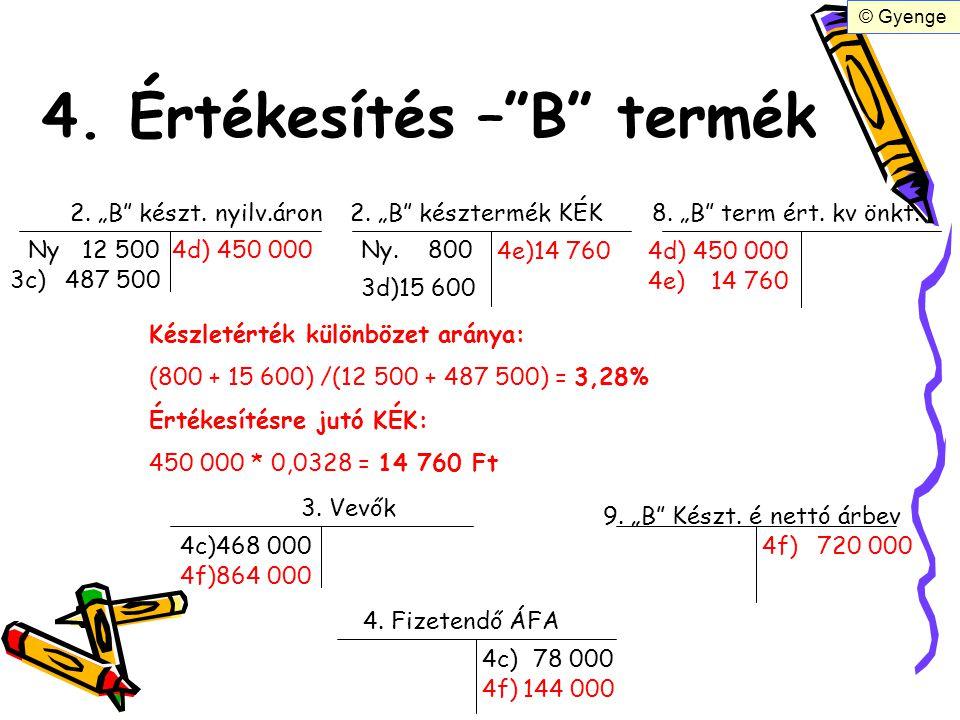 """4. Értékesítés –""""B"""" termék 2. """"B"""" készt. nyilv.áron2. """"B"""" késztermék KÉK Ny12 500 3c)487 500 3d)15 600 Ny. 800 8. """"B"""" term ért. kv önkt. 4d)450 000 4e"""