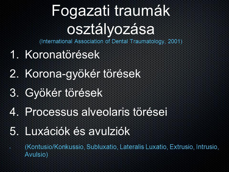 Fogazati traumák osztályozása (International Association of Dental Traumatology, 2001) 1. 1. Koronatörések 2. 2. Korona-gyökér törések 3. 3. Gyökér tö