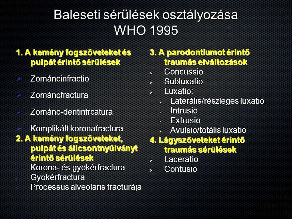 Baleseti sérülések osztályozása WHO 1995 1. A kemény fogszöveteket és pulpát érintő sérülések  Zománcinfractio  Zománcfractura  Zománc-dentinfrcatu