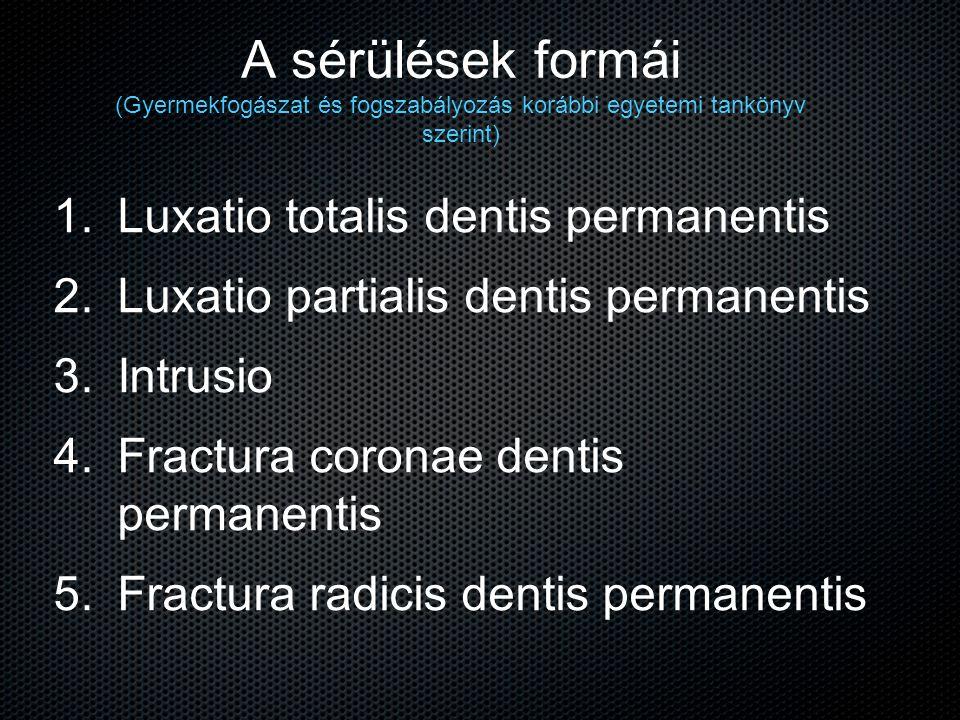 A sérülések formái (Gyermekfogászat és fogszabályozás korábbi egyetemi tankönyv szerint) 1. 1. Luxatio totalis dentis permanentis 2. 2. Luxatio partia