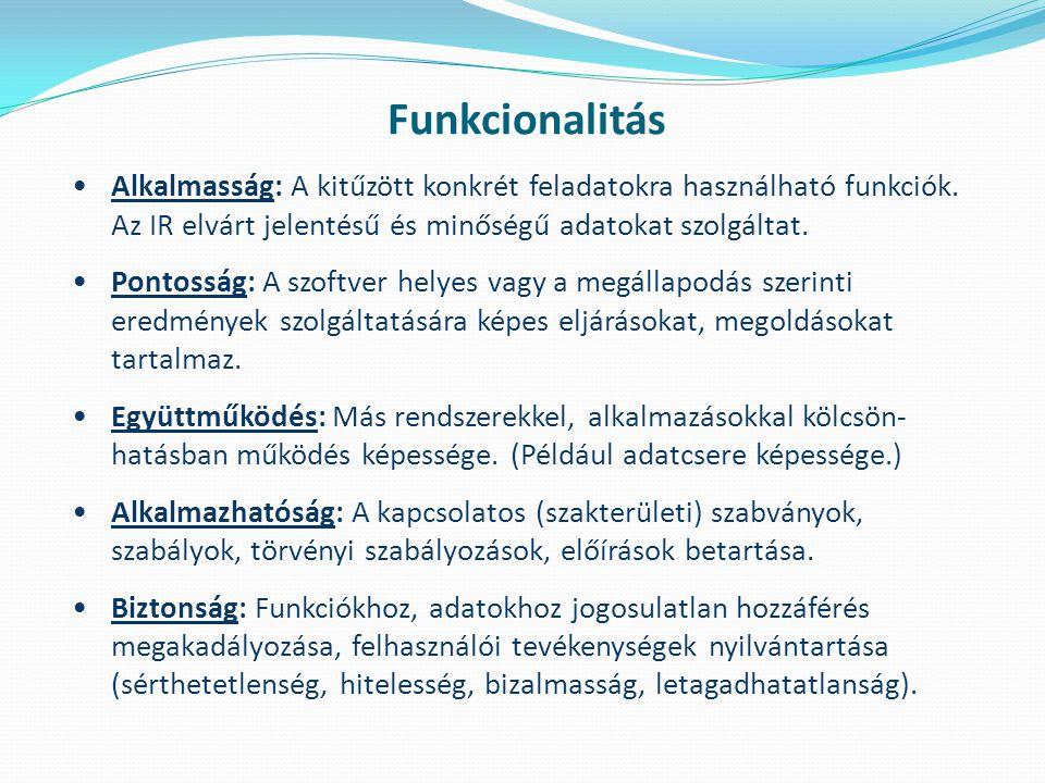Funkcionalitás Alkalmasság: A kitűzött konkrét feladatokra használható funkciók.