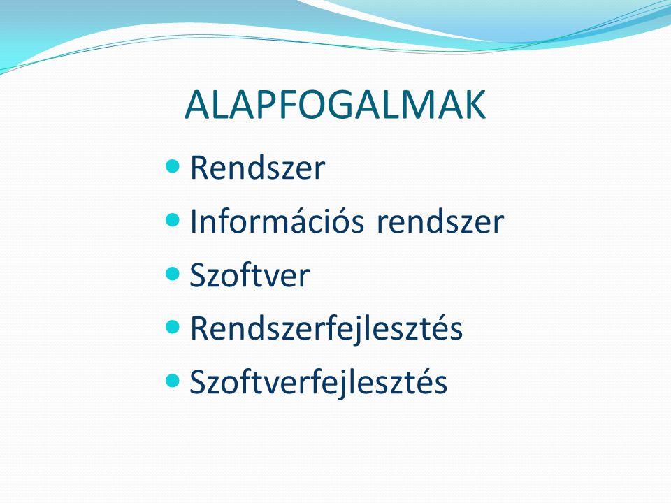 ALAPFOGALMAK Rendszer Információs rendszer Szoftver Rendszerfejlesztés Szoftverfejlesztés
