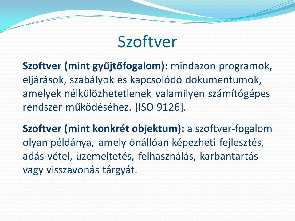 Szoftver Szoftver (mint gyűjtőfogalom): mindazon programok, eljárások, szabályok és kapcsolódó dokumentumok, amelyek nélkülözhetetlenek valamilyen számítógépes rendszer működéséhez.