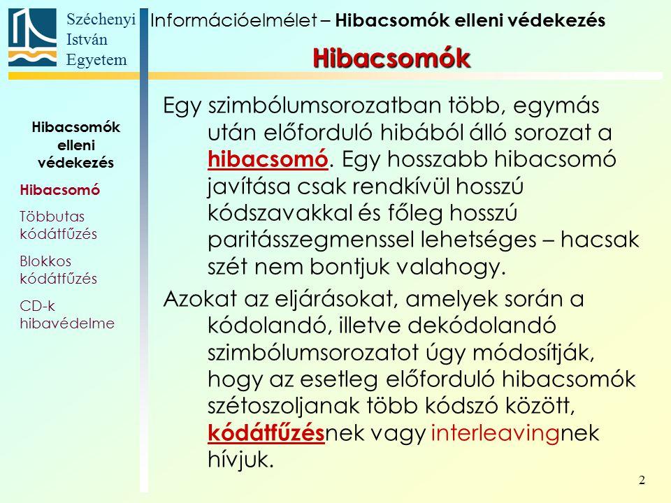 Széchenyi István Egyetem 13 Gyakorló feladatok: Hamming-kód Hozzunk létre egy szisztematikus Hamming- kódot a GF(13) számtest felett.