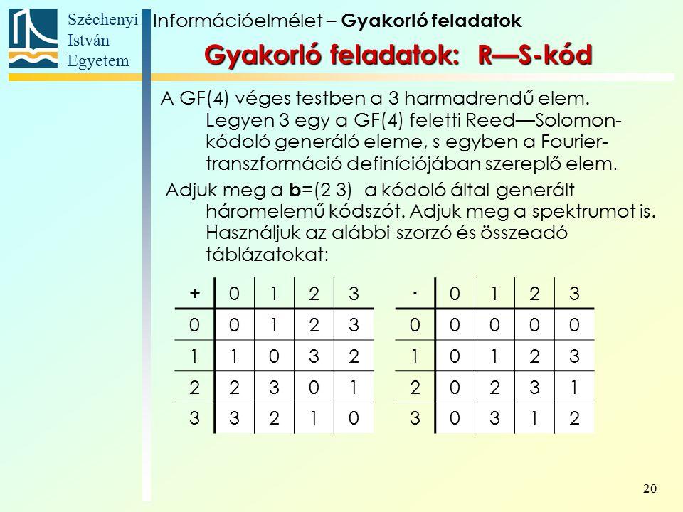 Széchenyi István Egyetem 20 A GF(4) véges testben a 3 harmadrendű elem.