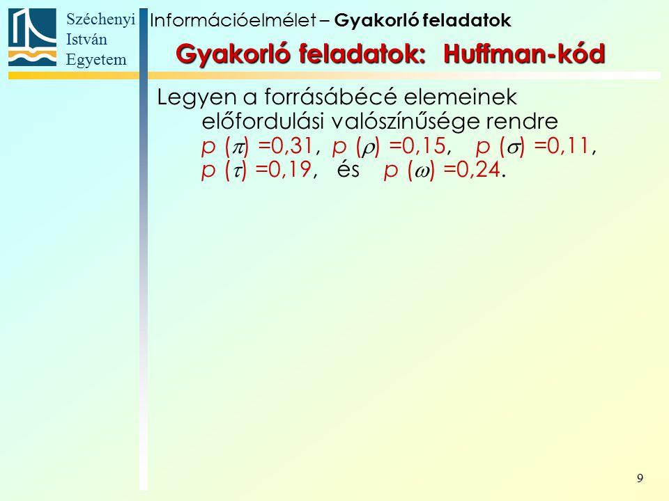 Széchenyi István Egyetem 9 Gyakorló feladatok: Huffman-kód Legyen a forrásábécé elemeinek előfordulási valószínűsége rendre p (  ) =0,31, p (  ) =0,15, p (  ) =0,11, p (  ) =0,19, és p (  ) =0,24.
