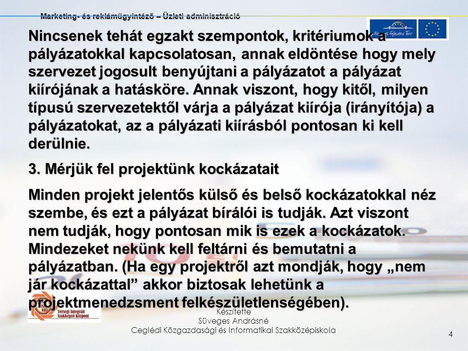 Marketing- és reklámügyintéző – Üzleti adminisztráció Készítette Süveges Andrásné Ceglédi Közgazdasági és Informatikai Szakközépiskola 15 1.