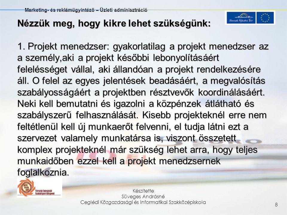 Marketing- és reklámügyintéző – Üzleti adminisztráció Készítette Süveges Andrásné Ceglédi Közgazdasági és Informatikai Szakközépiskola 19 Általánosságban el lehet mondani, hogy a horizontális szempontokat a projekt minden szakaszában, vagyis a tervezésben, kivitelezésben, működtetésben és a projekt tevékenység felhagyása után is szem előtt kell tartani.