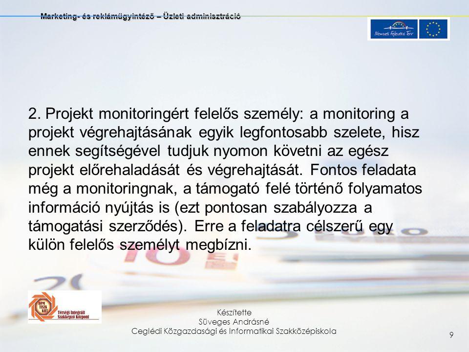 Marketing- és reklámügyintéző – Üzleti adminisztráció Készítette Süveges Andrásné Ceglédi Közgazdasági és Informatikai Szakközépiskola 9 2.
